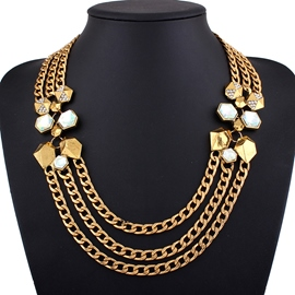 Ericdress Multilayer Alloy Diamante Chain Necklace