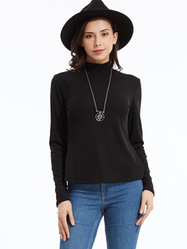 Ericdress Plain Turtleneck Backless Lace-Up T-shirt