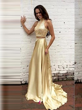 Ericdress Chic High Neck A-Line Pearls Sequins Two Pieces Evening Dress With Court Train