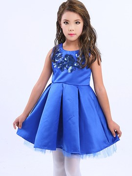 Ericdress Embroidery Pleated Sleeveless Girls Princess Dress