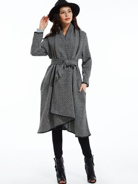 Ericdress Plain Lace-Up Asymmetric Coat
