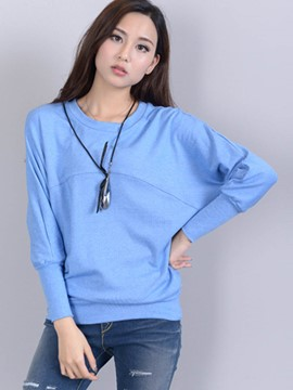 Ericdress Batwing Sleeve Solid Color T-Shirt