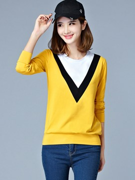 Ericdss Color Block Casual Long Sleeve T-Shirt