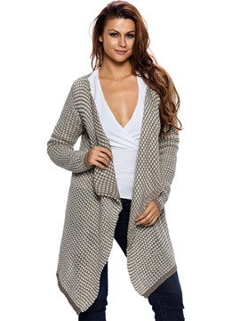 Ericdress Falbala Collar Mid-Length Cardigan Knitwear