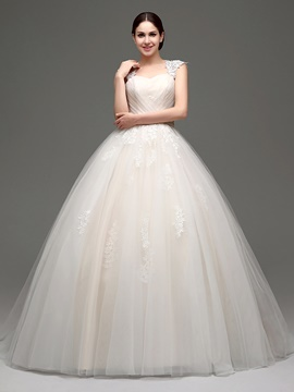 Ericdress Straps Appliques Ball Gown Wedding Dress