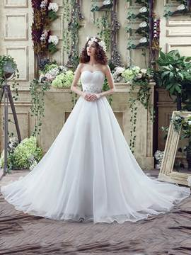 Ericdress Casual Sweetheart Beaded A Line Wedding Dress