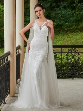 Ericdress Scoop Appliques Sheath Wedding Dress