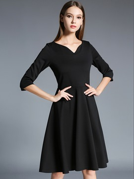Ericdress V-Neck Solid Color Pleated Patchwork Little Black Dress