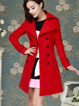 Ericdress Slim Solid Color Double-Breasted Coat