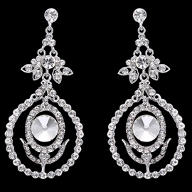 Ericdress White Zircon Mosaic Round Pendant Earrings
