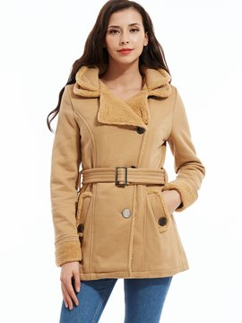 Ericdress Plain Double-Layer Single-Breasted Straight Coat
