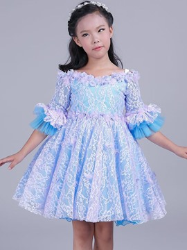 Ericdress Lace Flare Sleeve Princess Girls Dress