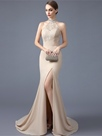 Ericdress High Neck Beading Crystal Lace Court Train Mermaid Evening Dress