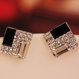 Ericdress Square Crystal Inlaid Stud Earrings