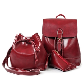Ericdress Vintage Draw String Waxy Leather Handbags(3 Bags)