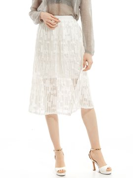 Ericdress Plain Chiffon See-Through Pleated Skirt