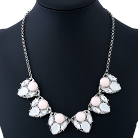 Ericdress Pink & Blue Acrylic Water Droplets Necklace