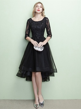 Ericdress Fancy A-Line Scoop Half Sleeves Appliques Beading Lace Sequins Evening Dress