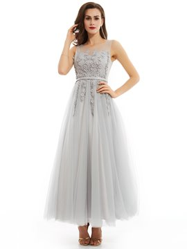 Ericdress Delicate A Line Applique Beaded Tulle Floor Length Prom Dress