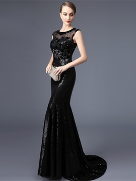 Ericdress Scoop Neck Cap Sleeves Beading Lace Sequins Court Train Mermaid Evening Dress