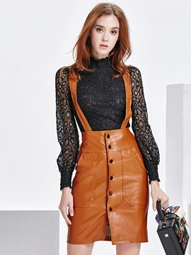 Ericdress High Neck Lace Hollow PU Suspenders Skirt Suit