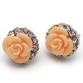 Ericdress Champagne Rose Design Diamante Earrings