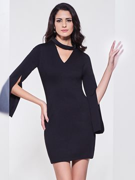 Ericdress V-Neck Flare Sleeves Bodycon Dress