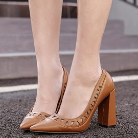 Ericdress Eurameric Cut Out Point Toe Chunky Heel Pumps