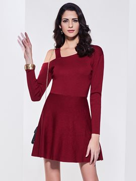 Ericdress Cold Shoulder A-Line Patchwork Sweater Dress