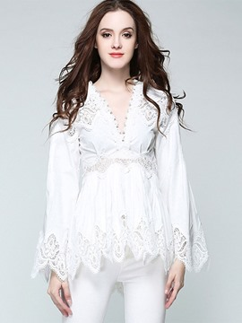 Ericdress Lace Patchwork Peplum V-Neck Blouse