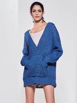 Kinikiss Blue Deep V-Neck Hooded Knitwear