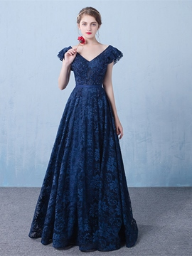 Ericdress A-Line V-Neck Cap Sleeves Appliques Beading Lace Long Evening Dress