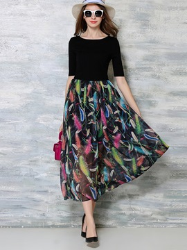 Ericdress Print Patchwork Pleated Half Sleeve Maxi Dress