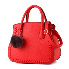 Ericdress Simple Weaved Fuzzy Ball Shell Handbag