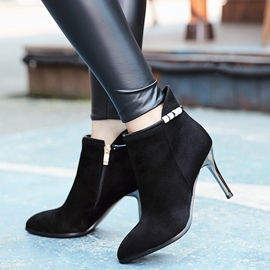 Ericdress Charming Point Toe Side Zip High Heel Boots