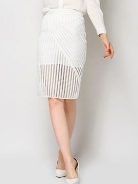 Ericdress Solid Color Mesh High-Waist Mini Skirt