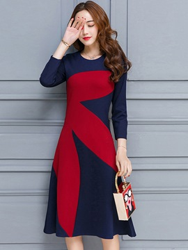 Ericdress Color Block Fabric Patchwork Casual Dress