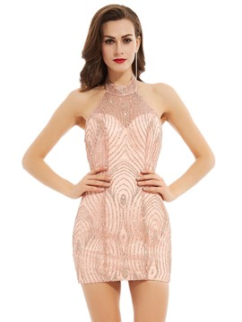 Ericdress Halter Neck Backless Sequins Short Cocktail Dress