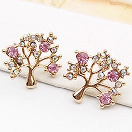 Ericdress Colored Rhinestone Little Tree Earrings