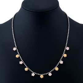 Ericdress Yellow & Pink Acrylic Flowers Pendant Necklace