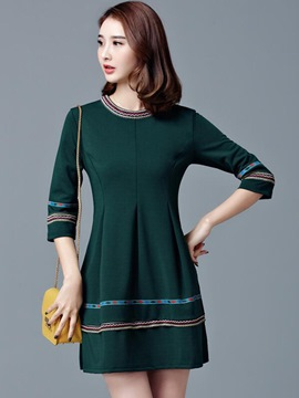 Ericdress Christmas Back Button Appliques Round Collar Trumpet Casual Dress