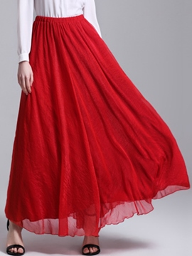 Ericdress Bohemian Chiffon Pleated High-Waist Expansion Skirt