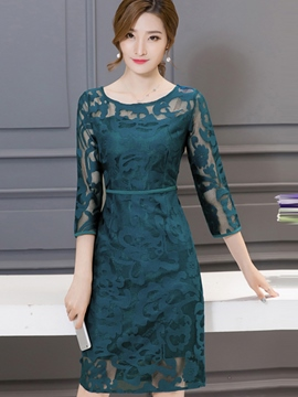 Ericdress Plain Three-Quarter Sleeve A-Line Lace Dress