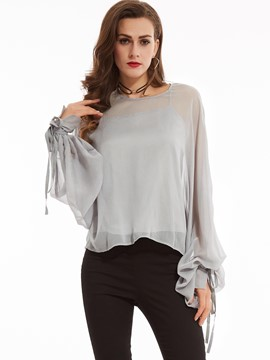 Ericdress Plain Loose Round Neck Blouse