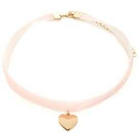 Ericdress Golden Heart-Shaped Pendant Pink Velvet Necklace