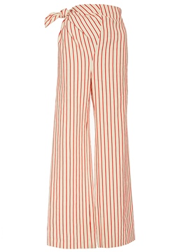 Ericdress Stripe Asymmetric Lace-Up Wide Legs Pants