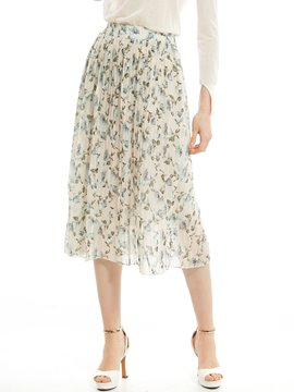 Ericdress Flower Print Pleated Skirt