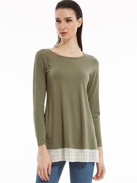 Ericdress Round Neck Lace Patchwork T-shirt