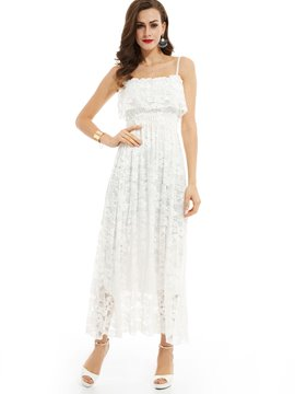 Ericdress Plain Spaghetti Strap Lace Dress