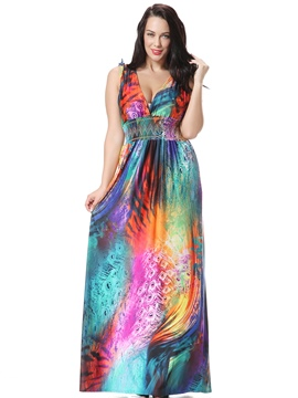 Ericdress Sexy Back V-Neck Colorful Elastic Sleeveless Maxi Dress